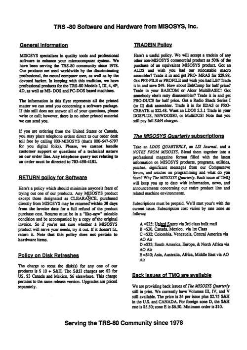 TRS-80 Catalogs: Assorted Vendors | Ira Goldklang's TRS-80