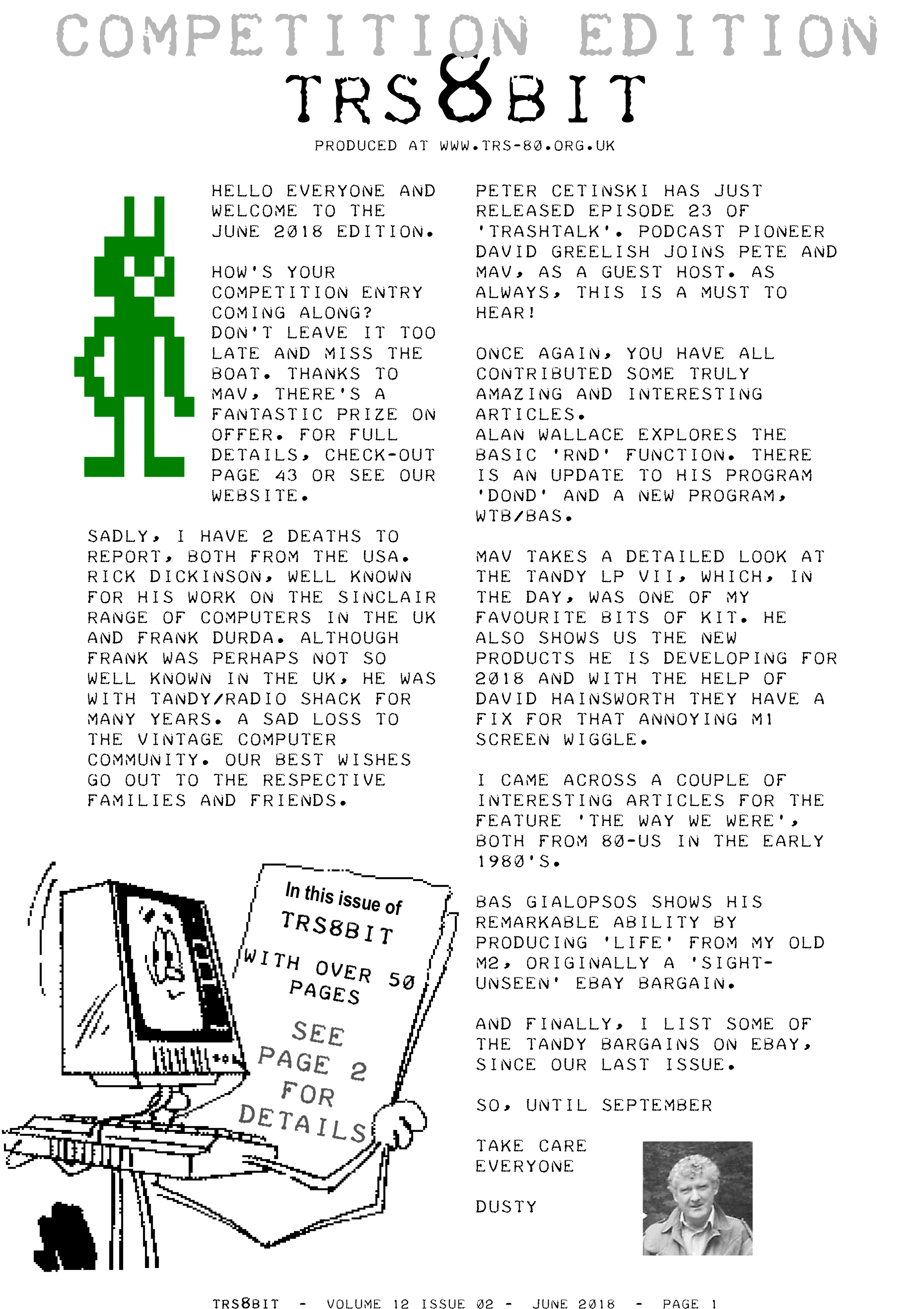 Ira goldklangs trs 80 revived site news dusty has released the june 2018 issue of the trs8bit newsletter on his trs 80 web site you can find all of the issues on his downloads page fandeluxe Gallery