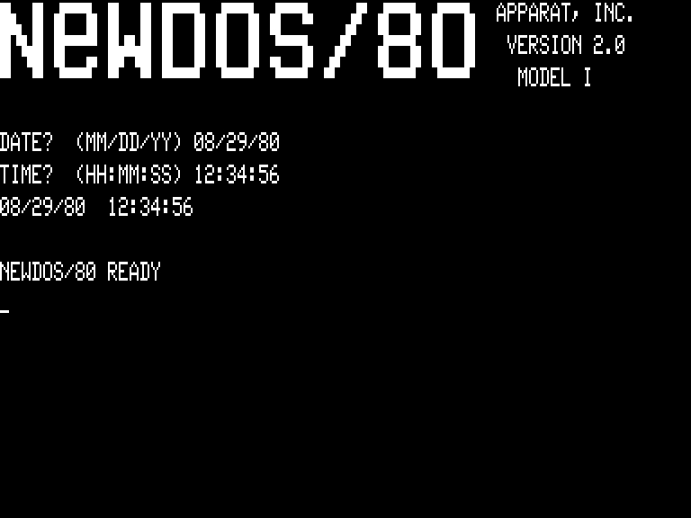 [NEWDOS/80 2.0 MAIN SCREEN]