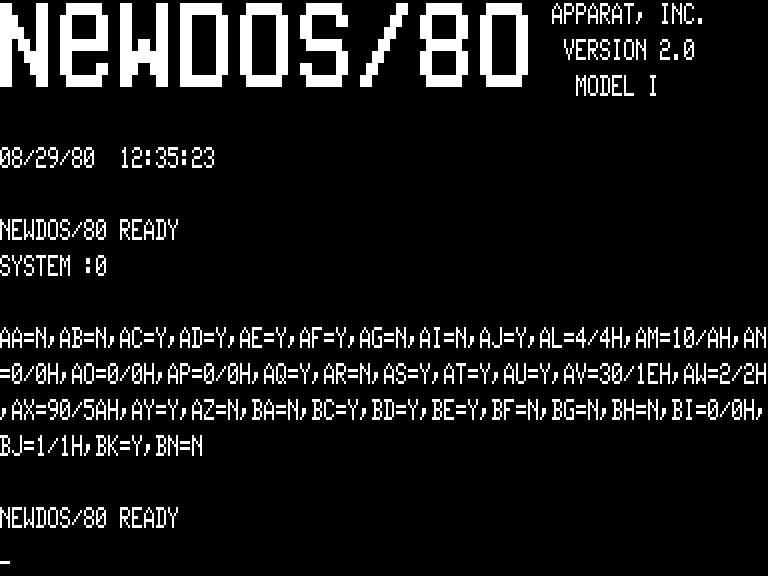 [NEWDOS/80 2.0 SYSTEM]