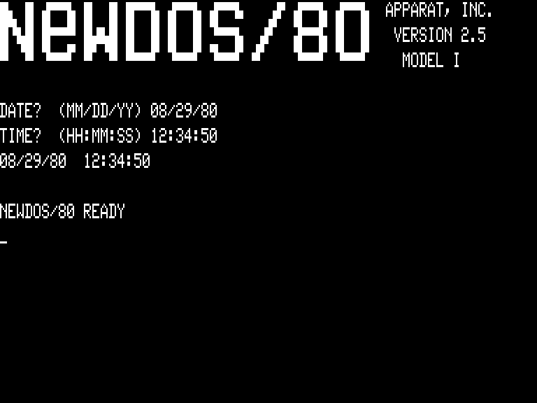 [NEWDOS/80 2.5 MAIN SCREEN]